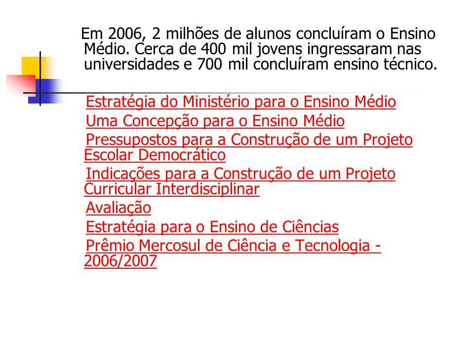 Em 2006, 2 milhões de alunos concluíram o Ensino Médio. Cerca de 400 mil jovens ingressaram nas universidades e 700 mil concluíram ensino técnico. Est