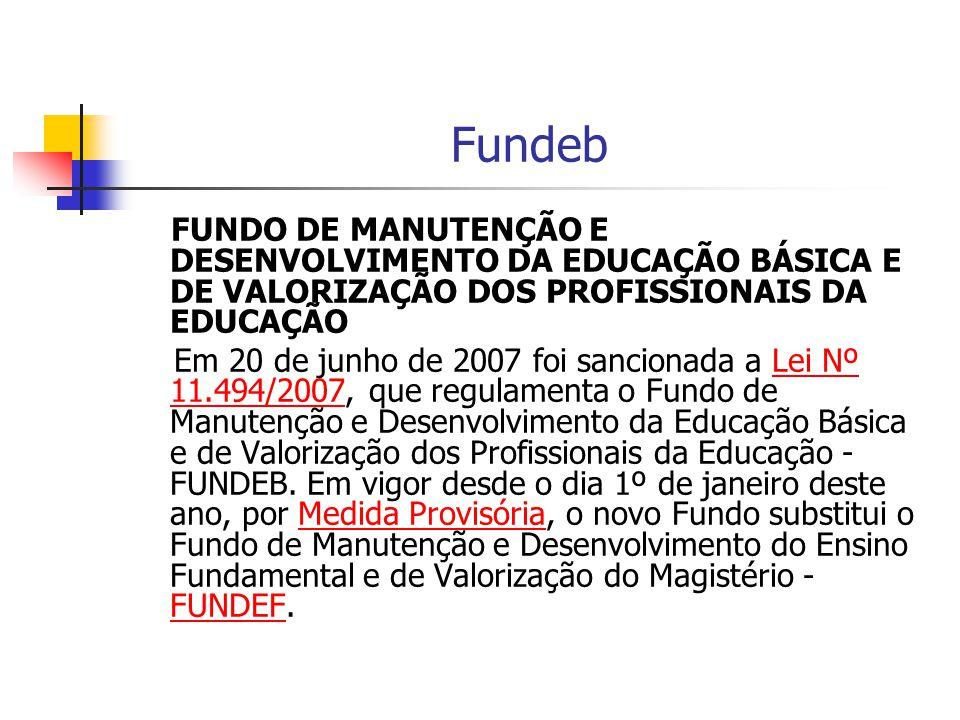 Fundeb FUNDO DE MANUTENÇÃO E DESENVOLVIMENTO DA EDUCAÇÃO BÁSICA E DE VALORIZAÇÃO DOS PROFISSIONAIS DA EDUCAÇÃO Em 20 de junho de 2007 foi sancionada a