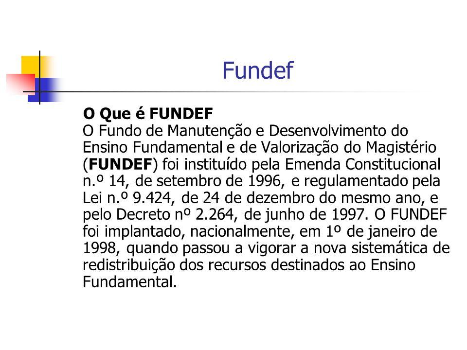 Fundef O Que é FUNDEF O Fundo de Manutenção e Desenvolvimento do Ensino Fundamental e de Valorização do Magistério (FUNDEF) foi instituído pela Emenda