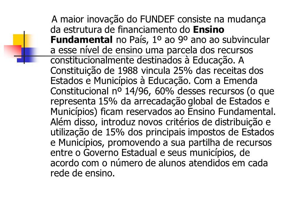 A maior inovação do FUNDEF consiste na mudança da estrutura de financiamento do Ensino Fundamental no País, 1º ao 9º ano ao subvincular a esse nível d