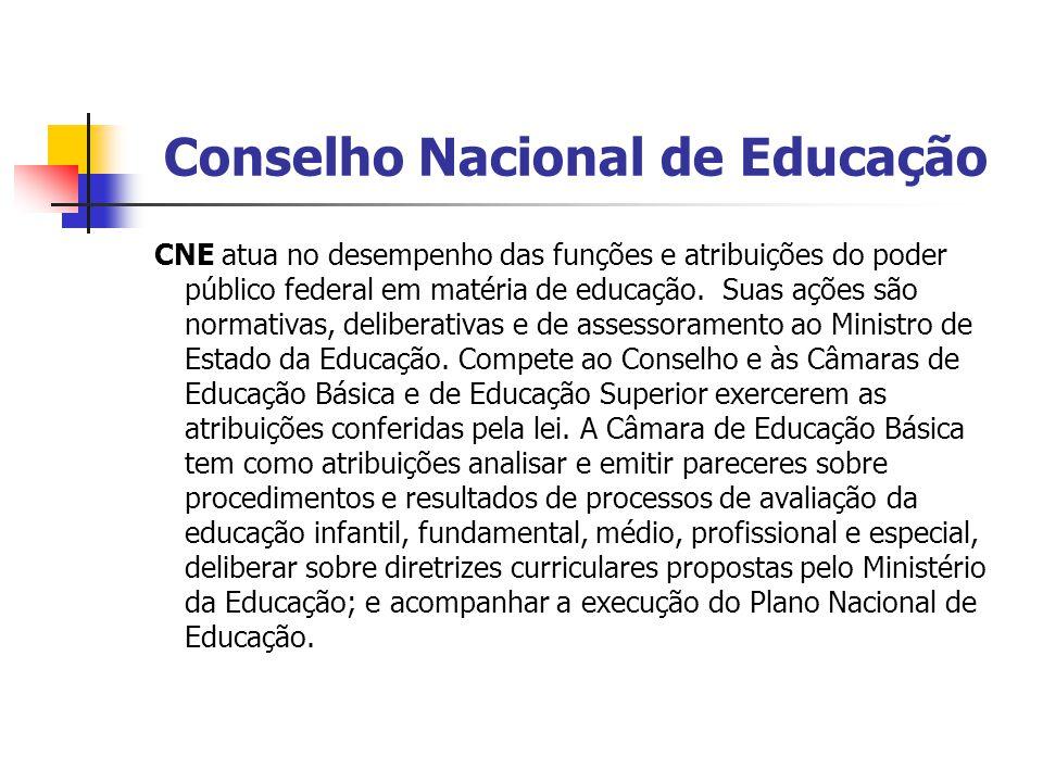 Conselho Nacional de Educação CNE atua no desempenho das funções e atribuições do poder público federal em matéria de educação. Suas ações são normati