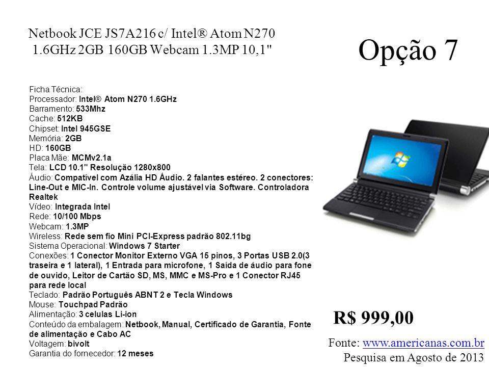 Netbook JCE JS7A216 c/ Intel® Atom N270 1.6GHz 2GB 160GB Webcam 1.3MP 10,1