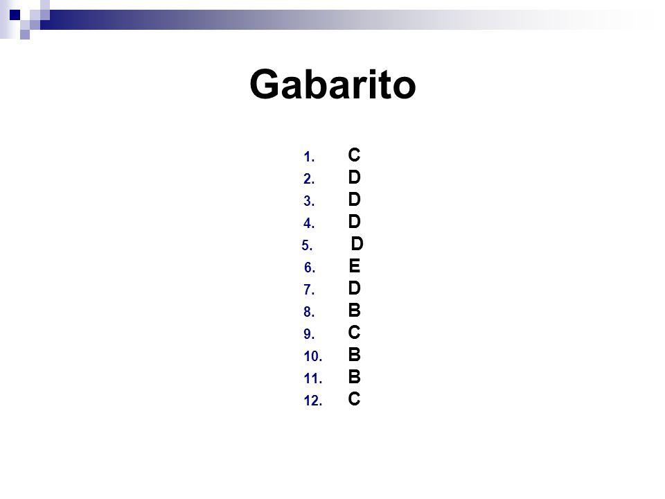 Gabarito 1. C 2. D 3. D 4. D 5. D 6. E 7. D 8. B 9. C 10. B 11. B 12. C