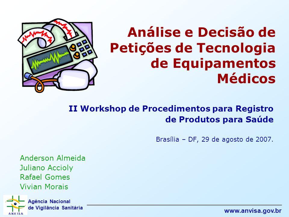 Agência Nacional de Vigilância Sanitária www.anvisa.gov.br Análise e Decisão de Petições de Tecnologia de Equipamentos Médicos II Workshop de Procedim