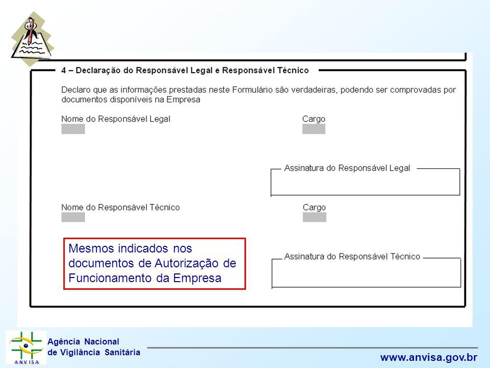 Agência Nacional de Vigilância Sanitária www.anvisa.gov.br Mesmos indicados nos documentos de Autorização de Funcionamento da Empresa