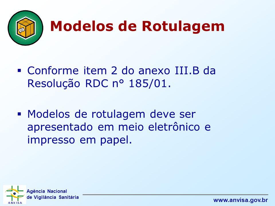 Agência Nacional de Vigilância Sanitária www.anvisa.gov.br Modelos de Rotulagem  Conforme item 2 do anexo III.B da Resolução RDC n° 185/01.  Modelos