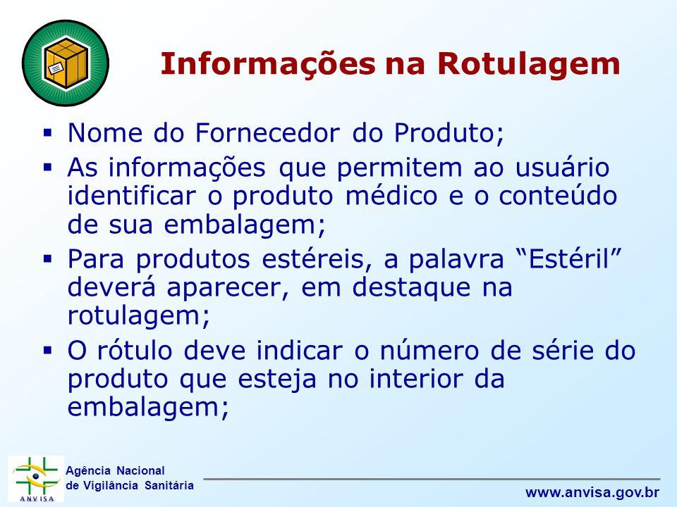 Agência Nacional de Vigilância Sanitária www.anvisa.gov.br Informações na Rotulagem  Nome do Fornecedor do Produto;  As informações que permitem ao