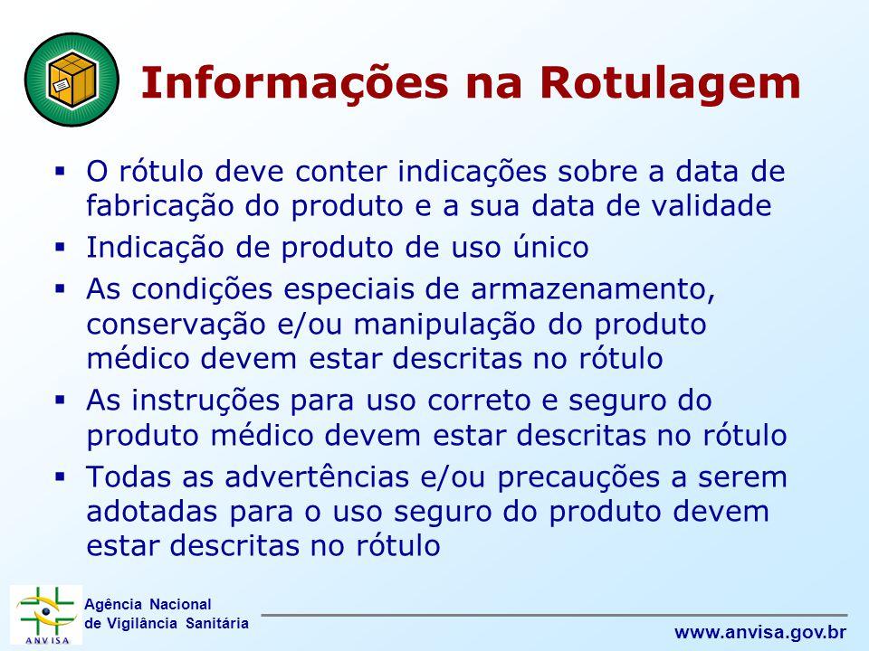 Agência Nacional de Vigilância Sanitária www.anvisa.gov.br Informações na Rotulagem  O rótulo deve conter indicações sobre a data de fabricação do pr