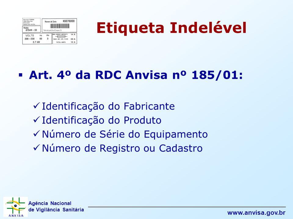 Agência Nacional de Vigilância Sanitária www.anvisa.gov.br Etiqueta Indelével  Art. 4º da RDC Anvisa nº 185/01:  Identificação do Fabricante  Ident