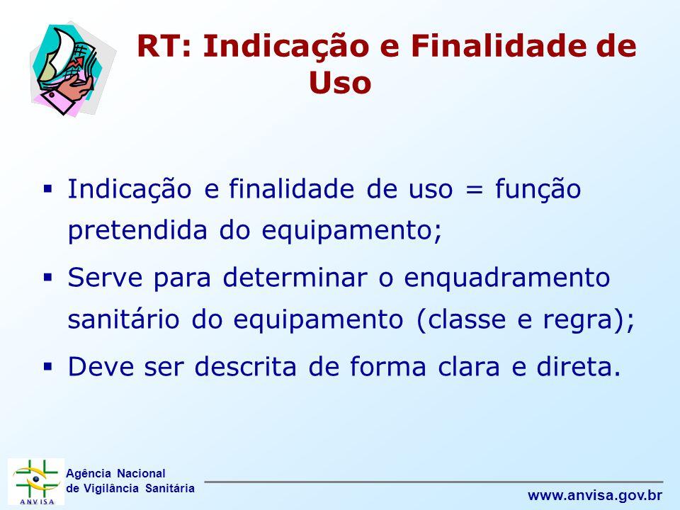 Agência Nacional de Vigilância Sanitária www.anvisa.gov.br RT: Indicação e Finalidade de Uso  Indicação e finalidade de uso = função pretendida do eq