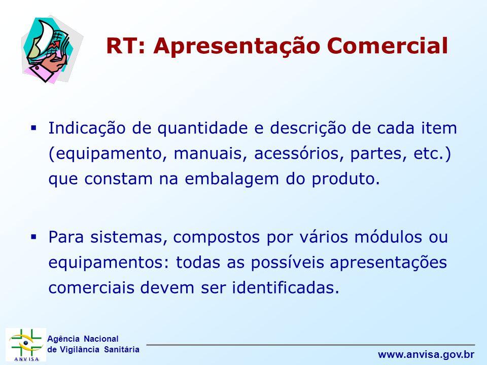 Agência Nacional de Vigilância Sanitária www.anvisa.gov.br RT: Apresentação Comercial  Indicação de quantidade e descrição de cada item (equipamento,