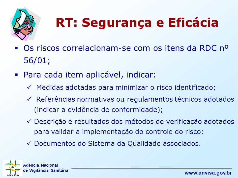 Agência Nacional de Vigilância Sanitária www.anvisa.gov.br RT: Segurança e Eficácia  Os riscos correlacionam-se com os itens da RDC nº 56/01;  Para