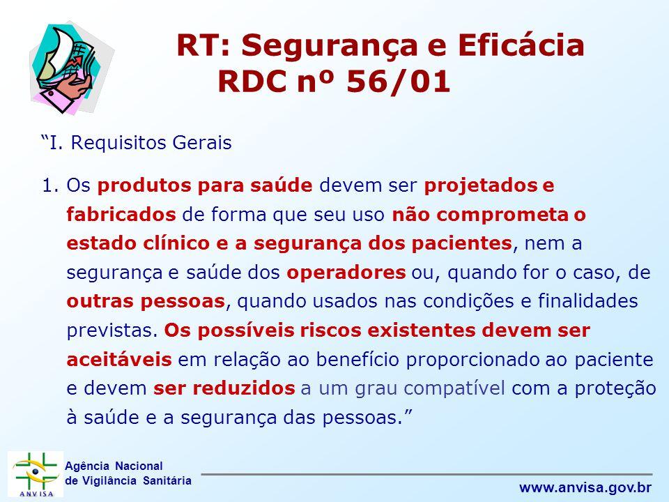 """Agência Nacional de Vigilância Sanitária www.anvisa.gov.br RT: Segurança e Eficácia RDC nº 56/01 """"I. Requisitos Gerais 1. Os produtos para saúde devem"""