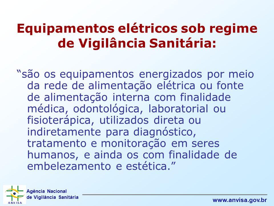"""Agência Nacional de Vigilância Sanitária www.anvisa.gov.br Equipamentos elétricos sob regime de Vigilância Sanitária: """"são os equipamentos energizados"""