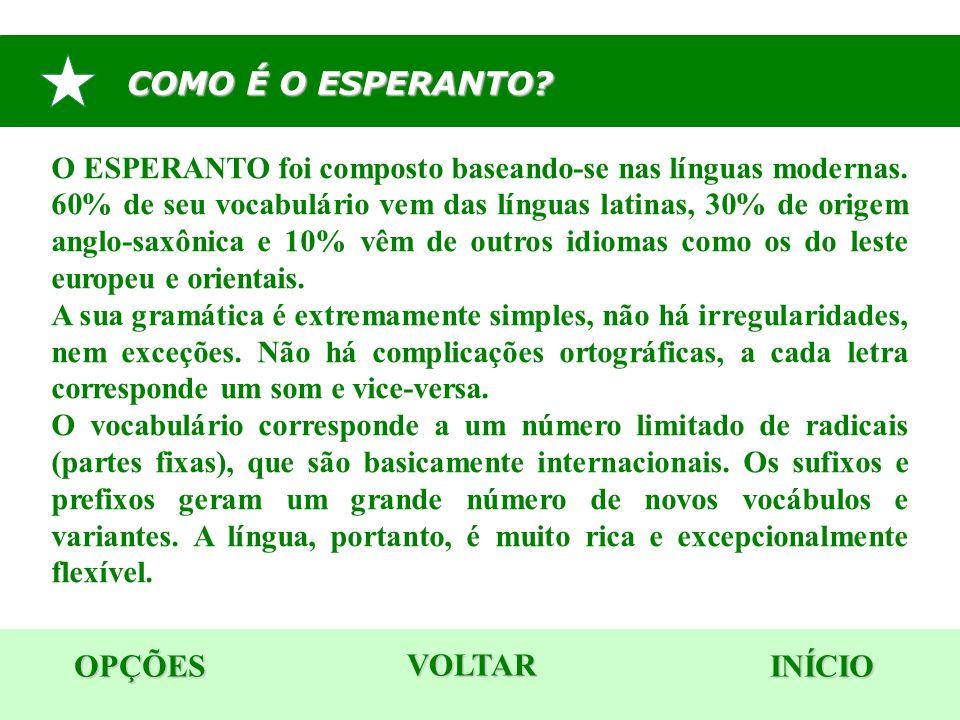 COMO É O ESPERANTO? OPÇÕES INÍCIO O ESPERANTO foi composto baseando-se nas línguas modernas. 60% de seu vocabulário vem das línguas latinas, 30% de or