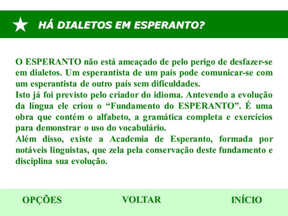 HÁ DIALETOS EM ESPERANTO? OPÇÕES INÍCIO O ESPERANTO não está ameaçado de pelo perigo de desfazer-se em dialetos. Um esperantista de um país pode comun