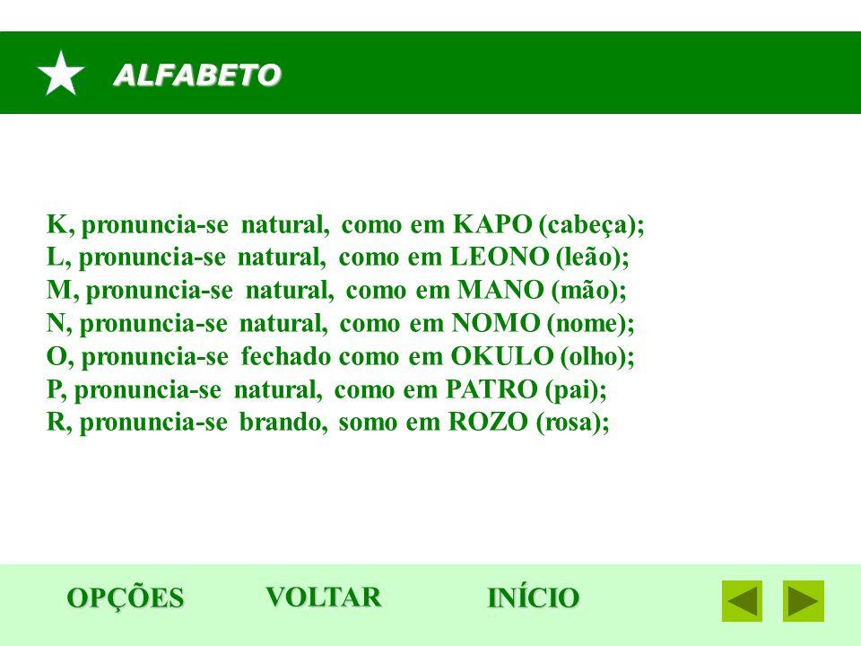 ALFABETO OPÇÕES INÍCIO K, pronuncia-se natural, como em KAPO (cabeça); L, pronuncia-se natural, como em LEONO (leão); M, pronuncia-se natural, como em