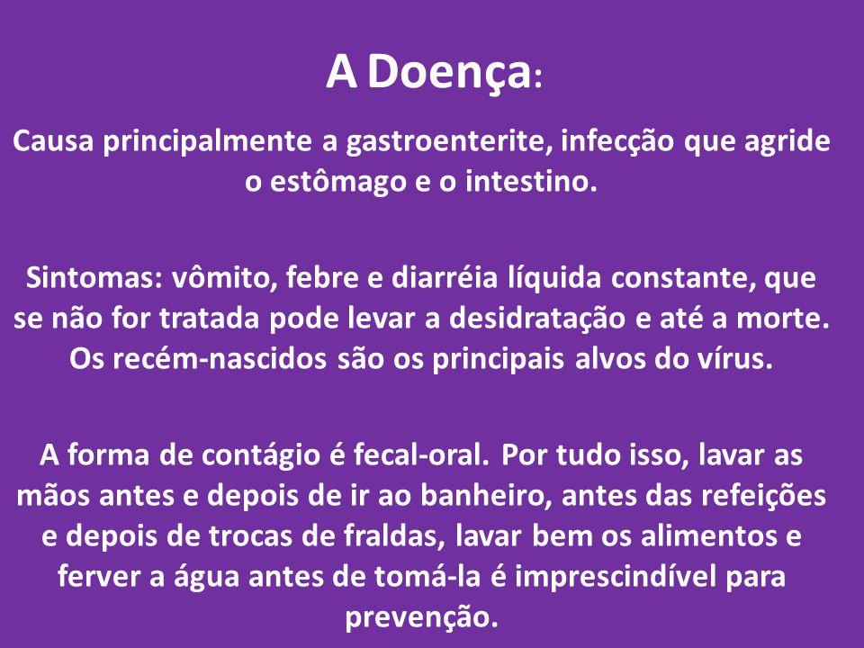 A Doença : Causa principalmente a gastroenterite, infecção que agride o estômago e o intestino. Sintomas: vômito, febre e diarréia líquida constante,