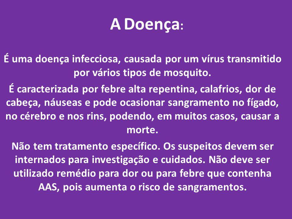 A Doença : É uma doença infecciosa, causada por um vírus transmitido por vários tipos de mosquito. É caracterizada por febre alta repentina, calafrios