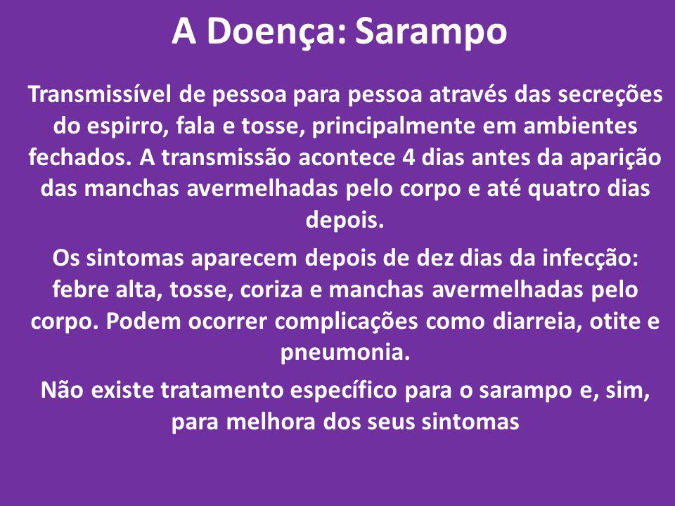A Doença: Sarampo Transmissível de pessoa para pessoa através das secreções do espirro, fala e tosse, principalmente em ambientes fechados. A transmis
