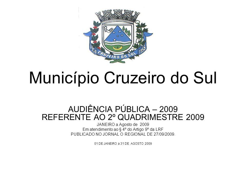 Município Cruzeiro do Sul AUDIÊNCIA PÚBLICA – 2009 REFERENTE AO 2º QUADRIMESTRE 2009 JANEIRO a Agosto de 2009 Em atendimento ao § 4º do Artigo 9º da LRF PUBLICADO NO JORNAL O REGIONAL DE 27/09/2009.