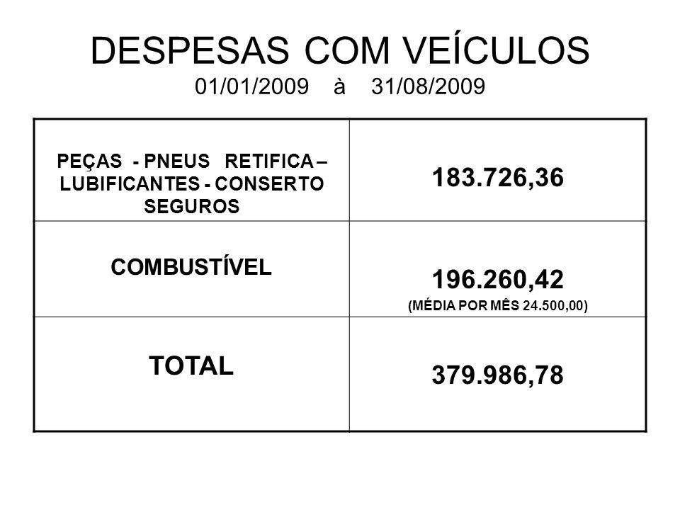 DESPESAS COM VEÍCULOS 01/01/2009 à 31/08/2009 PEÇAS - PNEUS RETIFICA – LUBIFICANTES - CONSERTO SEGUROS 183.726,36 COMBUSTÍVEL 196.260,42 (MÉDIA POR MÊS 24.500,00) TOTAL 379.986,78