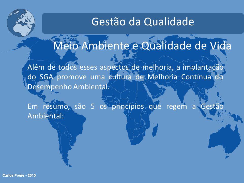 Carlos Freire - 2013 Meio Ambiente e Qualidade de Vida Gestão da Qualidade Além de todos esses aspectos de melhoria, a implantação do SGA promove uma