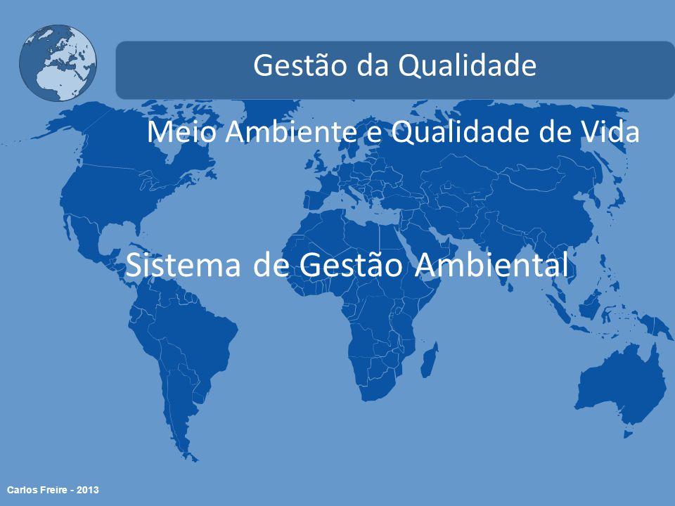 Carlos Freire - 2013 Meio Ambiente e Qualidade de Vida Gestão da Qualidade Sistema de Gestão Ambiental
