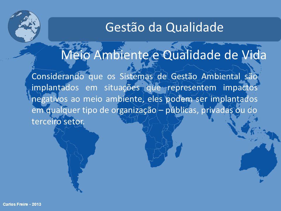 Carlos Freire - 2013 Meio Ambiente e Qualidade de Vida Gestão da Qualidade Considerando que os Sistemas de Gestão Ambiental são implantados em situaçõ