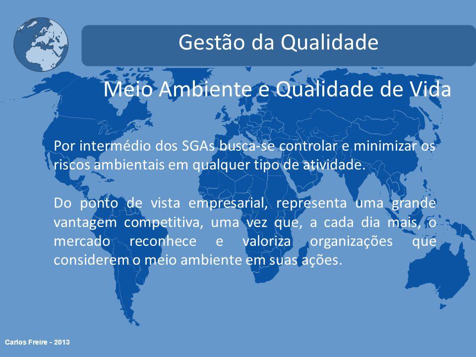 Carlos Freire - 2013 Meio Ambiente e Qualidade de Vida Gestão da Qualidade Por intermédio dos SGAs busca-se controlar e minimizar os riscos ambientais