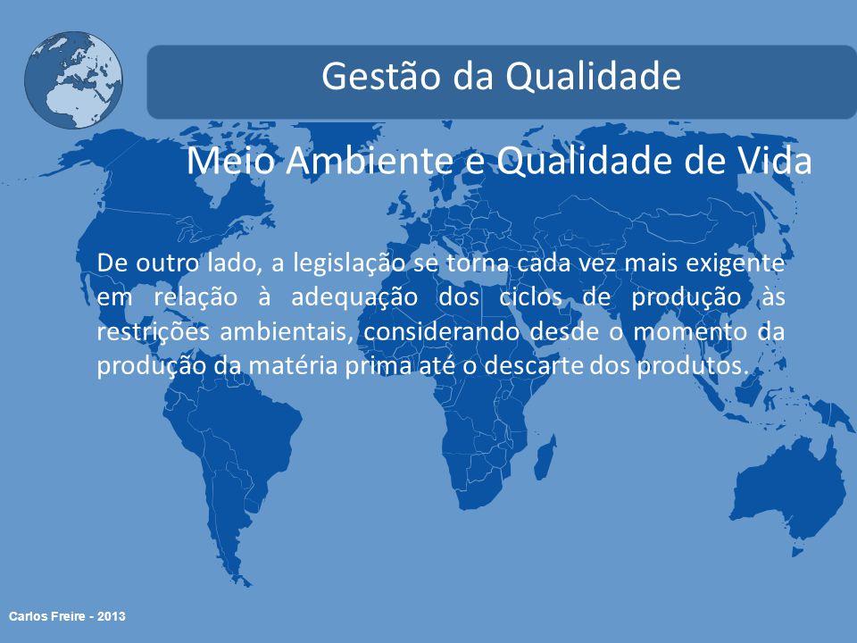 Carlos Freire - 2013 Meio Ambiente e Qualidade de Vida Gestão da Qualidade De outro lado, a legislação se torna cada vez mais exigente em relação à ad