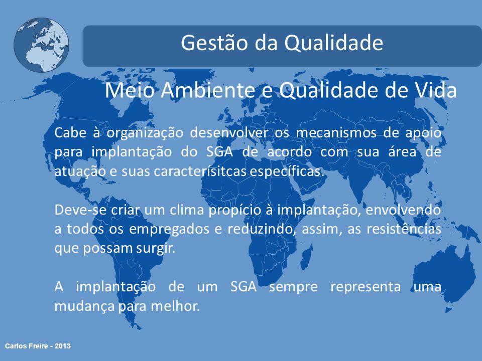 Carlos Freire - 2013 Meio Ambiente e Qualidade de Vida Gestão da Qualidade Cabe à organização desenvolver os mecanismos de apoio para implantação do S