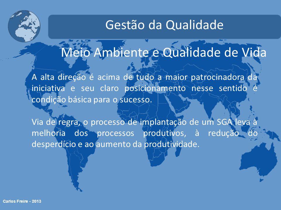 Carlos Freire - 2013 Meio Ambiente e Qualidade de Vida Gestão da Qualidade A alta direção é acima de tudo a maior patrocinadora da iniciativa e seu cl