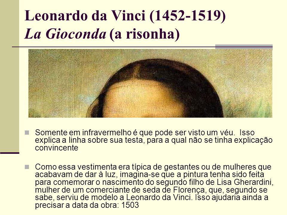 Leonardo da Vinci (1452-1519) La Gioconda (a risonha)  Somente em infravermelho é que pode ser visto um véu.