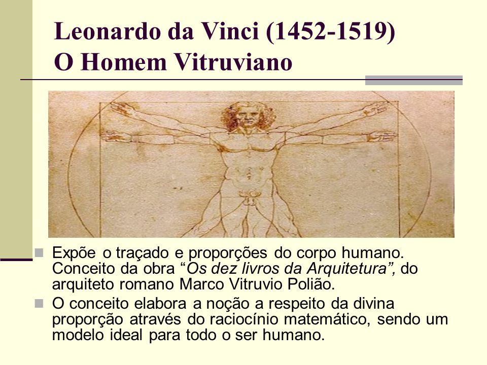 Leonardo da Vinci (1452-1519) O Homem Vitruviano  Expõe o traçado e proporções do corpo humano.