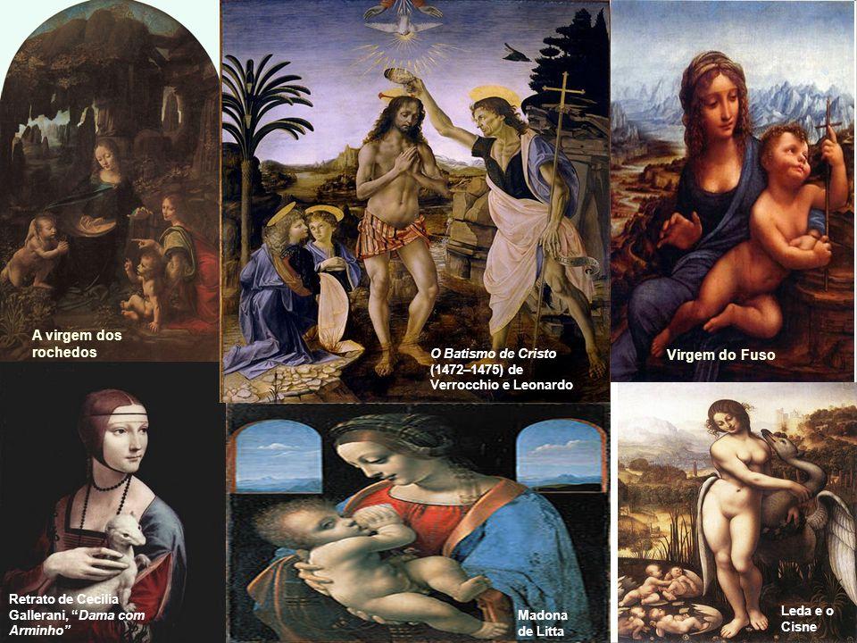 A virgem dos rochedos A última ceia Mona Lisa Dama com Arminho Anunciação Leonardo Da Vinci A virgem do fuso O Batismo de Cristo (1472–1475) de Verrocchio e Leonardo Retrato de Cecília Gallerani, Dama com Arminho Virgem do Fuso Leda e o Cisne Madona de Litta