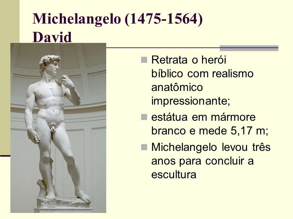 Michelangelo (1475-1564) David  Retrata o herói bíblico com realismo anatômico impressionante;  estátua em mármore branco e mede 5,17 m;  Michelangelo levou três anos para concluir a escultura