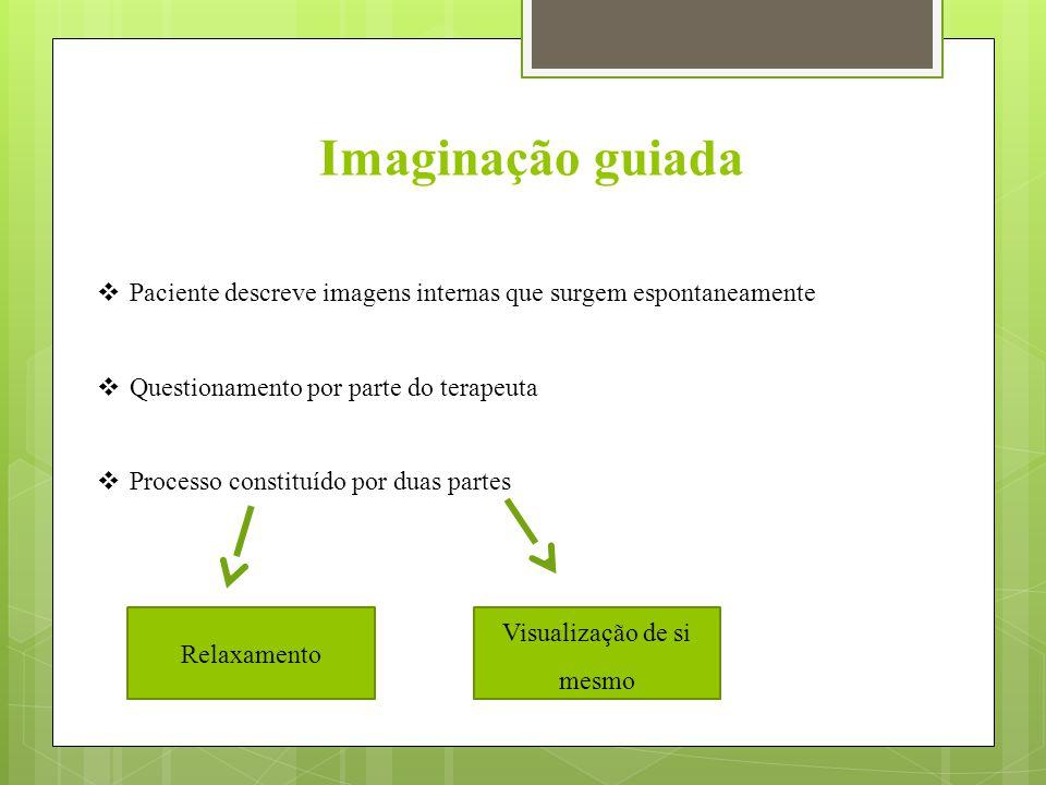 Imaginação guiada  Paciente descreve imagens internas que surgem espontaneamente  Questionamento por parte do terapeuta  Processo constituído por duas partes Relaxamento Visualização de si mesmo