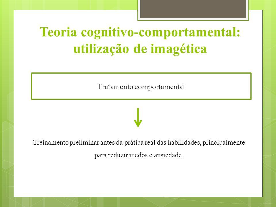 Teoria cognitivo-comportamental: utilização de imagética Tratamento comportamental Treinamento preliminar antes da prática real das habilidades, princ