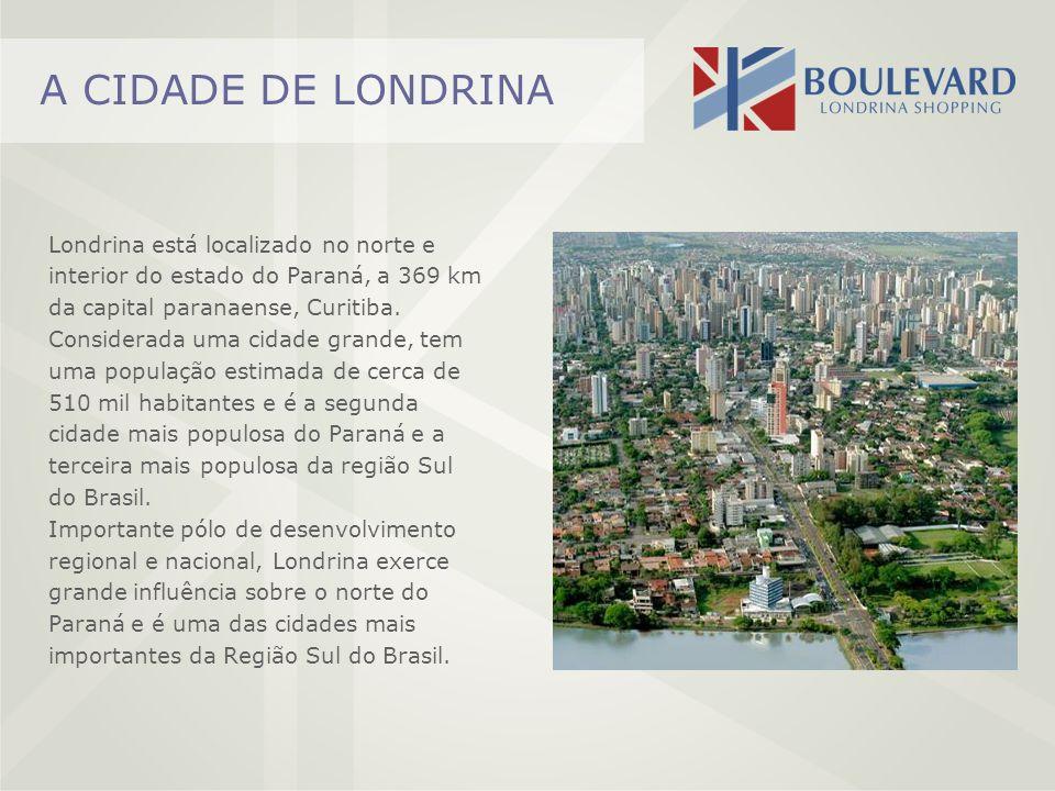 A CIDADE DE LONDRINA Londrina está localizado no norte e interior do estado do Paraná, a 369 km da capital paranaense, Curitiba. Considerada uma cidad