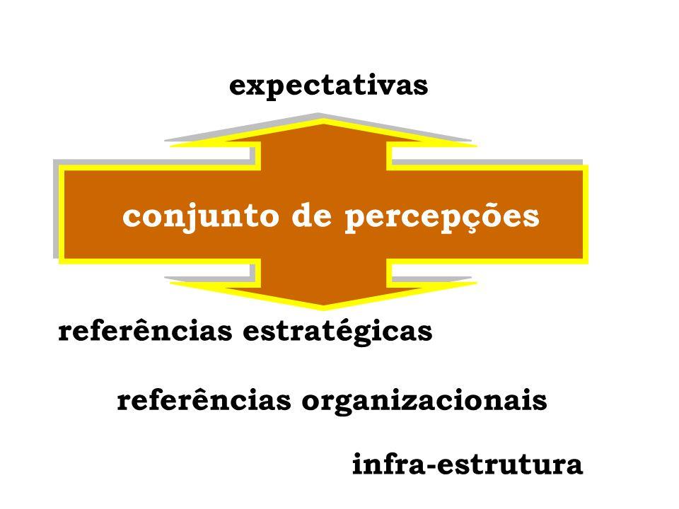 expectativas conjunto de percepções fatores motivacionais fatores que influenciam o comportamento referências + condições de infra-estrutura