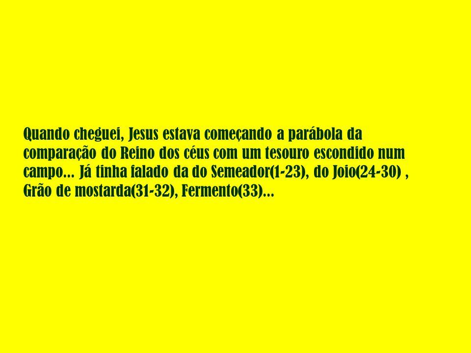Quando cheguei, Jesus estava começando a parábola da comparação do Reino dos céus com um tesouro escondido num campo... Já tinha falado da do Semeador