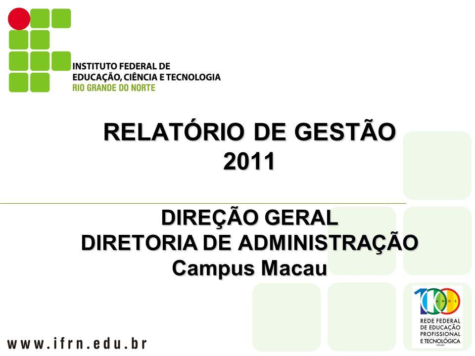 RELATÓRIO DE GESTÃO 2011 DIREÇÃO GERAL DIRETORIA DE ADMINISTRAÇÃO Campus Macau