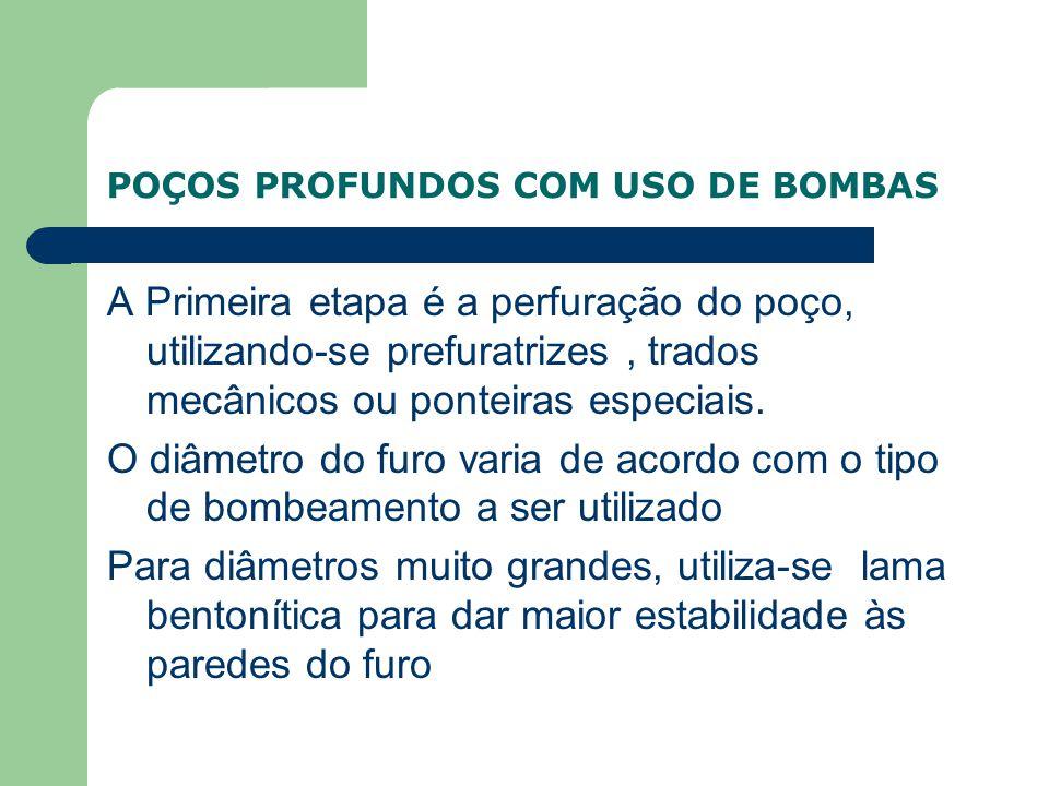 POÇOS PROFUNDOS COM USO DE BOMBAS A Primeira etapa é a perfuração do poço, utilizando-se prefuratrizes, trados mecânicos ou ponteiras especiais.