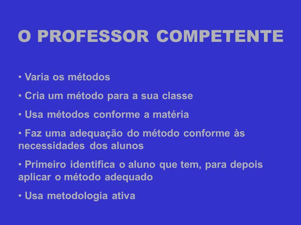 O PROFESSOR COMPETENTE • Varia os métodos • Cria um método para a sua classe • Usa métodos conforme a matéria • Faz uma adequação do método conforme à