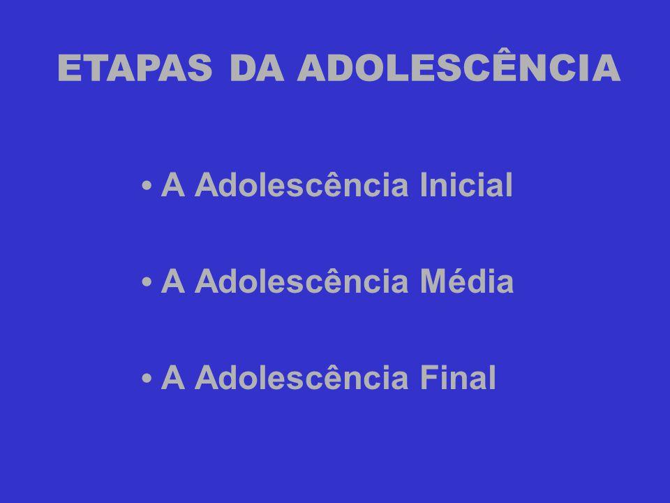 • A Adolescência Inicial • A Adolescência Média • A Adolescência Final ETAPAS DA ADOLESCÊNCIA