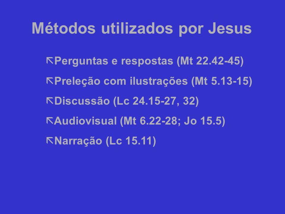 ã Perguntas e respostas (Mt 22.42-45) ã Preleção com ilustrações (Mt 5.13-15) ã Discussão (Lc 24.15-27, 32) ã Audiovisual (Mt 6.22-28; Jo 15.5) ã Narração (Lc 15.11) Métodos utilizados por Jesus