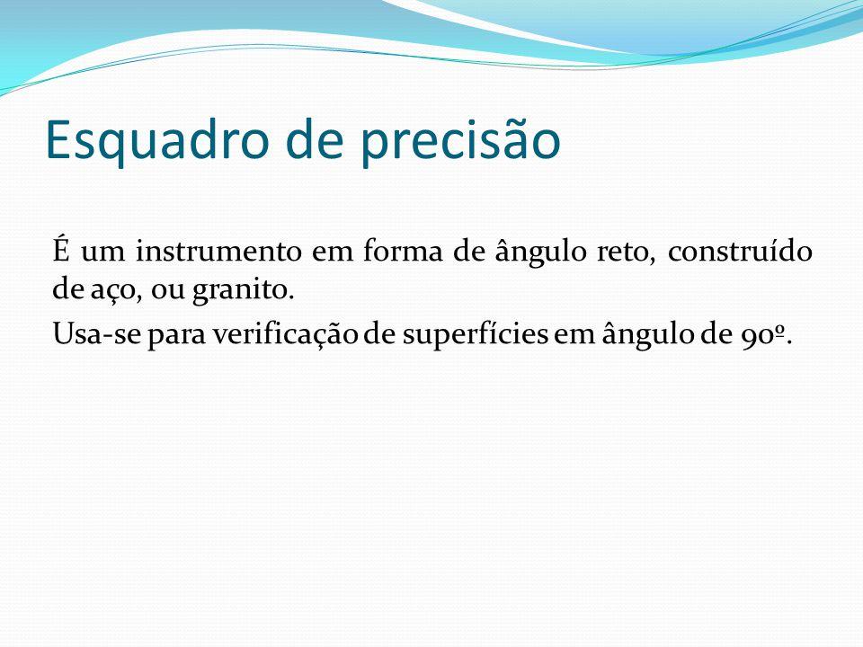 Esquadro de precisão É um instrumento em forma de ângulo reto, construído de aço, ou granito. Usa-se para verificação de superfícies em ângulo de 90º.