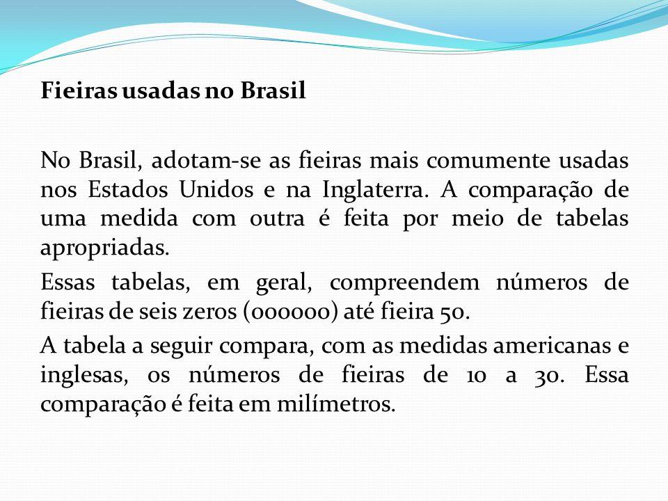 Fieiras usadas no Brasil No Brasil, adotam-se as fieiras mais comumente usadas nos Estados Unidos e na Inglaterra. A comparação de uma medida com outr