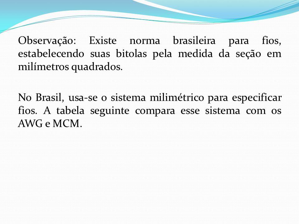 Observação: Existe norma brasileira para fios, estabelecendo suas bitolas pela medida da seção em milímetros quadrados. No Brasil, usa-se o sistema mi